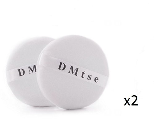 DMtse TWO (2) Round Jumbo Velour Powder Puff 4.0 Inch (10cm) in White by DMtse