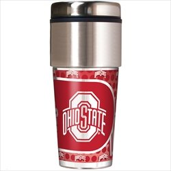NCAA Ohio State Buckeyes 16 oz Travel Tumbler with Metallic (Ohio State Buckeyes Travel Mug)