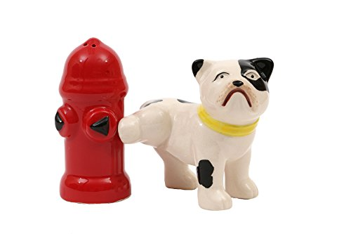 Creative Co-Op Hand Painted Dog & Fire Hydrant Shaped Salt & Pepper Shakers (2 Pieces)
