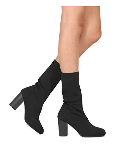 Indulge Sophie-I Women Knitted Fabric Mid Calf Block Heel Sock Boot HE42 - Black Cotton (Size: 8.0) ()