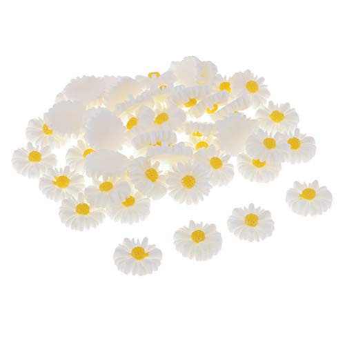 Baosity 50 Pieces DIY Flatbacks Resin Flat Back Daisy Flowers Cabochon Buttons Scrapbooking Slime Charms DIY Embellishment Craft for Jewelry Phone Decoration