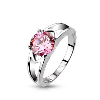 316L Stainless Steel Pink Cubic Zirconia Solitaire Prong Set Hollow Ring - Width: 7mm - Sizes: 5-8