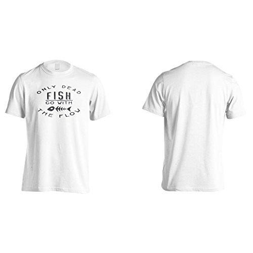 Nur Tote Fische Gehen Mit Dem Fließen In Dunkel Herren T-Shirt n622m