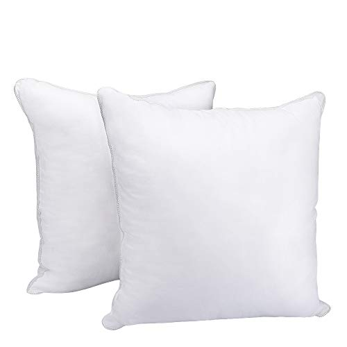 HOMEIDEAS Pillow Inserts - Stuffer Pillow Insert Sham Square Super Soft 100% Cotton Cover, Hypoallergenic Pillow Inserts Form, Cushion Inserts, 18 x 18 inch - Set of 2 (White)