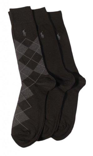 Polo Ralph Lauren Men's 3 Pack Argyle Black Socks (10-13)