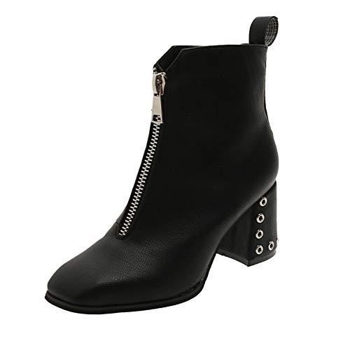 Casual Alti Donna Shoes Basso Nero boots Corto Tacchi Stivaletti ragazza Bazhahei Moda Stivale Stivali Scarpa Con Da Scarpe Alto autunno Singole Scarpe Tacco invernali Flat AdPHqTxaw