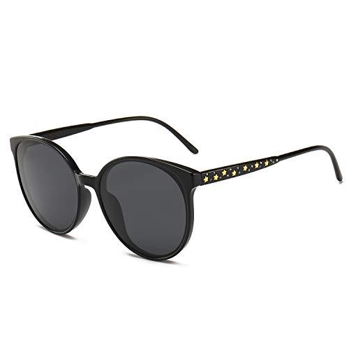 SUNGAIT Women's Oversized Designer Sunglasses - Metal Star and Rhinestone Frame (BlackFrame(GlossyFinish)/GreyLens) 1951 -