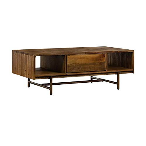 Armen Living Superb Rustic Oak Coffee Table with Drawer