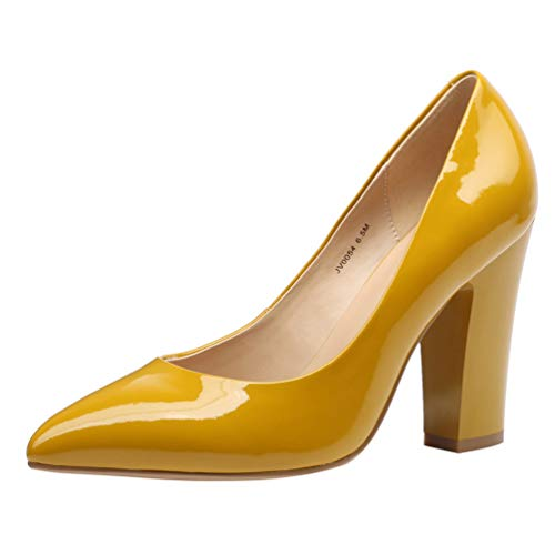 (JARO VEGA Women's Patent Leather Pumps Thick Heel 4'', Pointed Toe Slip On Dress Shoes Ceylon Yellow Size 9)
