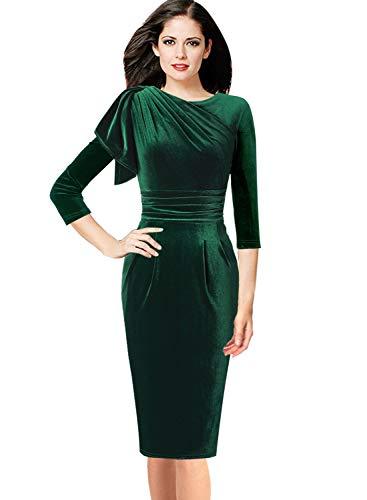 (VFSHOW Womens Celebrity Elegant Velvet Ruched Cocktail Party Bodycon Sheath Dress 1937 GRN XS)