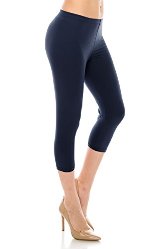 (ALWAYS Women Basic Capri Leggings - Solid Buttery Premium Soft Stretch Yoga Workout Fitness Pants Navy Regular)