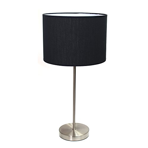 Nickel Black Shades (Simple Designs Home LT2040-BLK Brushed Nickel Stick Lamp with Fabric Shade, Black)