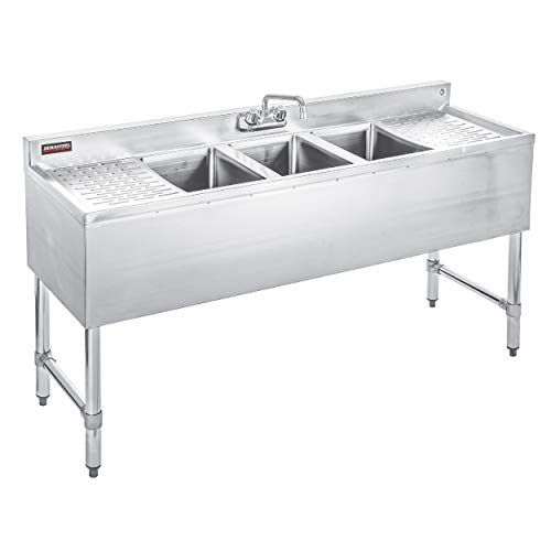 DuraSteel 3 Compartment Stainless Steel Bar Sink with 10