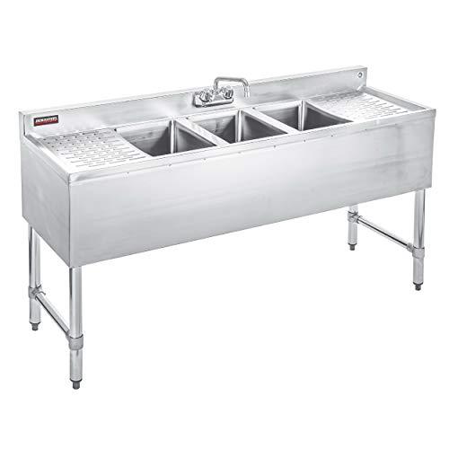 4 Backsplash Sink Bowl - DuraSteel 3 Compartment Stainless Steel Bar Sink with 10