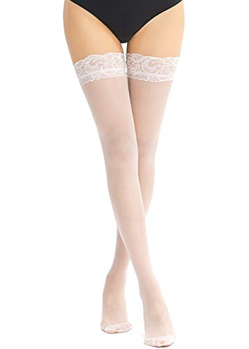 (E-Laurels Women's Lace Sheer Thigh-High Stockings With Stay Up Silicone Lace Top (White, One)