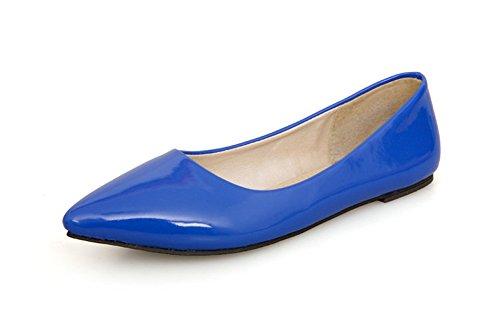 Bleu Vernis Femme Aisun Bout En Ballerines Pointu Confort Basse 8cq6a