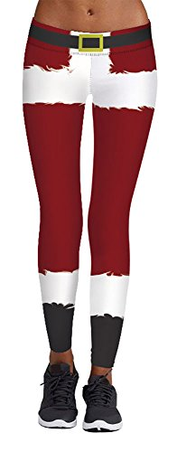 Red Striped Pants Costume (Jescakoo Red White Belt Printed Stretch Legging Pants Santa Claus Costume)