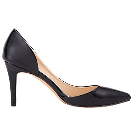 Dethan High Black OL Heel Patent Thin Toe Party Evening Pumps Womens Dress Leather Pointed Y1FqwT1R