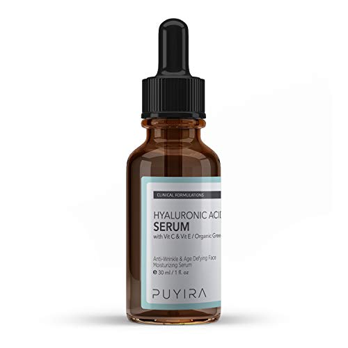PUYIRA Hyaluronic Acid Serum, 1 fl oz, With Vitamin C, E For Skin Hydrating, Firming Formula, Anti-Aging, Reduces Wrinkles, Fine Lines, Moisturizes and Rejuvenates Skin