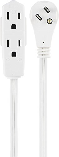 GE Indoor Office Extension Cord, Extra Long 8ft Power Cable, 3 Grounded Outlets, 3 Prong, Low-Profile Right Angle Flat Plug, 16 Gauge, UL Listed, White, ()