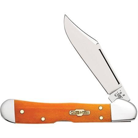 Case Smooth Persimmon Orange Bone Mini Copperlock Pocket Knife