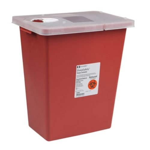 Covidien 8980 SharpSafety Sharps Container Hinged Lid, 8 gal Capacity, Red (Pack of 10) by COVIDIEN
