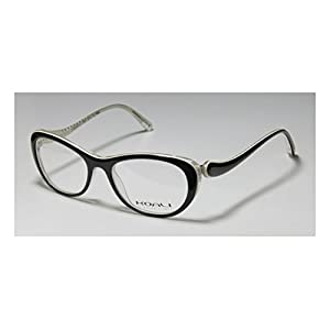 Koali 7058k Womens/Ladies Rxable Durable Designer Full-rim Eyeglasses/Eyeglass Frame (49-16-135, Black / White / Clear)