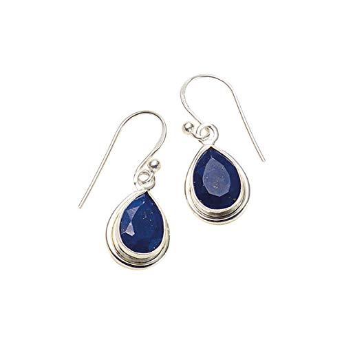 Pendientes de plata con lapisl/ázuli redondo