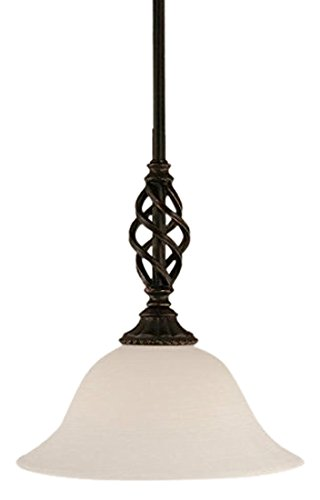 Toltec Lighting 80-DG-613 Elegante Mini Pendant with Hang Straight Swivel with 10″ White Linen Glass, Dark Granite Finish