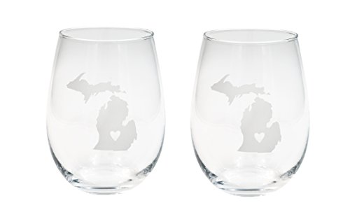 About Face Designs 186723 State Of Michigan Stemless Wine Glass (Set Of 2), 16 oz, Clear