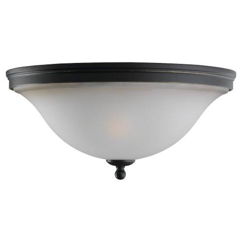 Sea Gull Lighting 75850-782 Flush Mount with Smokey AmberGlass Shades, Heirloom Bronze Finish