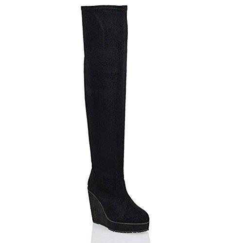 Essex Glam Damen Kniehoch Keilabsatz Overknee Stiefel BLACK FAUX SUEDE