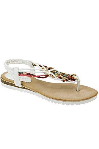 Sapphire TIENDA jlh792 Cielo Mujer Múltiple Cadena De Diamante Giro Tira Para Dedo Zapatos Cómodos Sandalias Blanco