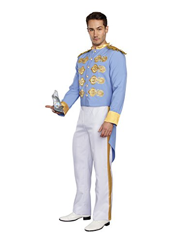Dreamgirl Men's Handsome Prince, Blue/White, (Prince Charming Costume For Men)