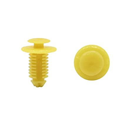 eDealMax 100 piezas DE 9 mm diámetro del agujero remaches de plástico Clips sujetadores Amarillo Para