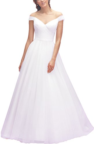 OnlyBridal Women's Cap Sleeve Boat Neck Tulle Wedding Dress Beach Bridal Dresswedding Gown