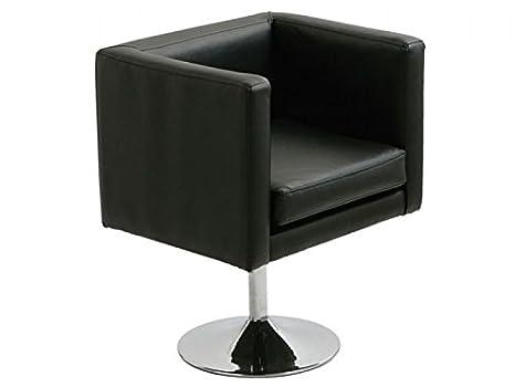Hogar Decora Sillon Cromado Simil Piel Negro 60x60x72 cm ...