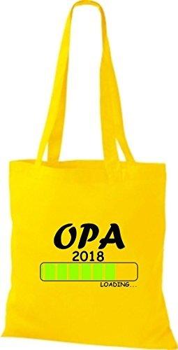 shirtinstyle Tela Bolsa Algodón Opa 2018 Carga parto Regalo - fucsia, 38 cm x 42 cm amarillo