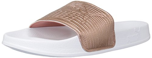 PUMA Women's Leadcat Leather Wn Slide Sandal, Copper Rose White, 9.5 M US