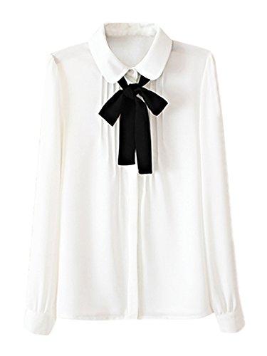 Sankill Sweet Lady Bow Tie White Long Sleeve Button Down Shirt Chiffon Blouse