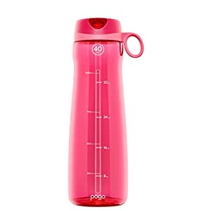 Pogo BPA-Free Plastic Water Bottle with Flip Straw, 40 oz, Pink