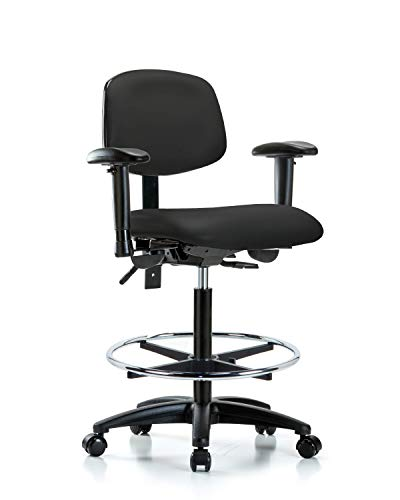 LabTech Seating LT44943 High Bench Chair, Vinyl, Nylon Base, Arms, Chrome Foot Ring, Casters, Black Base Foot Ring Casters