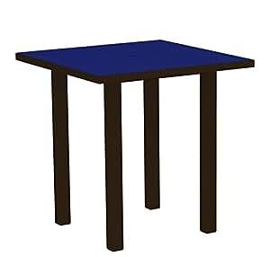"37""reciclado Earth-friendly Patio contador mesa–Pacífico azul con marco de bronce"
