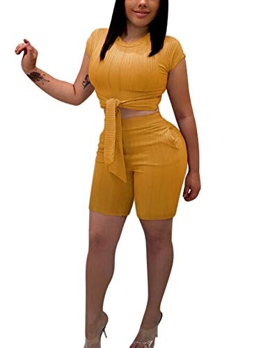 Succi Women's Sexy Short Sleeve Tie Front Waist Crop Tops High Waist Shorts 2 Piece Bodycon Outfits Bodycon Tracksuits with Pocket Yellow -