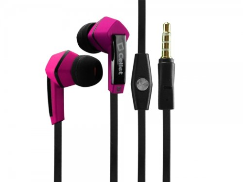Pink Stereo Headphones Built in Hands Free Microphone Box Shaped Compatible with LG Phoenix 3
