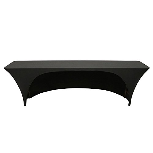Your Chair Covers - Stretch Spandex 8 Ft x 18 Inches Open Back Rectangular Table Cover Black, 96