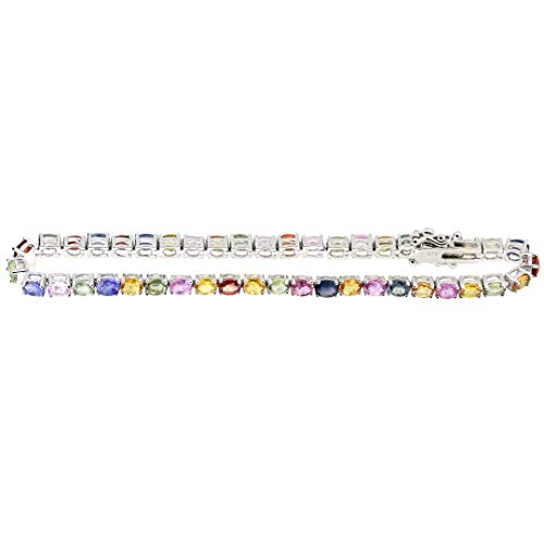Sterling Silver Oval Natural Multicolor Sapphire Tennis Bracelet for Women