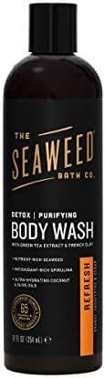 The Seaweed Bath Co. Purifying Detox Body Wash, Refresh Scent (Orange, Eucalyptus & Cedar), Natural Organic Seaweed, Vegan, Paraben Free, 12 oz.