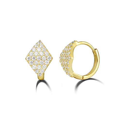 (Carleen Yellow Gold Plated 925 Sterling Silver CZ Cubic Zirconia Hoop Earrings For Women Girls, Size 0.5