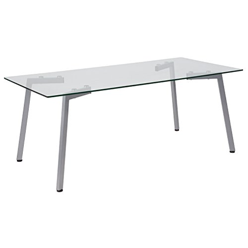 Flash Furniture Roxbury Collection Glass Coffee Table with Silver Metal Legs